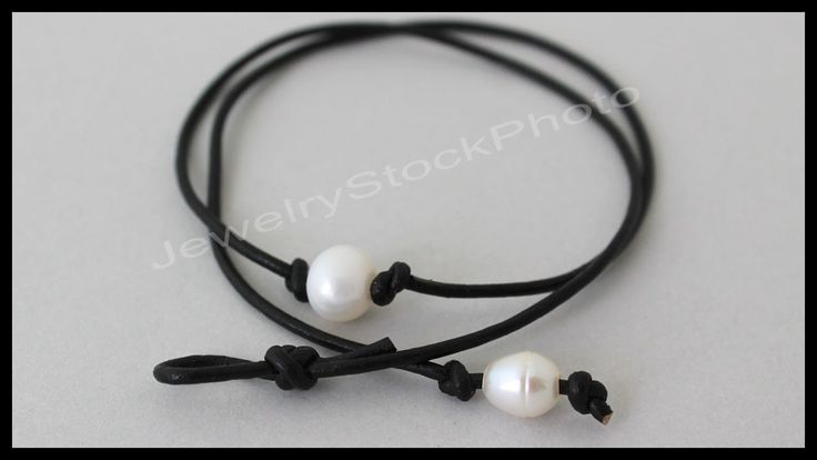 Single Pearl Leather CHOKER - Knotted / Floating Pearl on Cord - Step by...