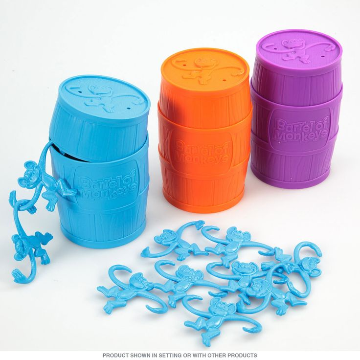 The Barrel of Monkeys Game is a barrel of vintage fun. Just like the original, try to make the longest chain of monkeys you can! Assorted colors. Made of plastic. 4.75 inches.