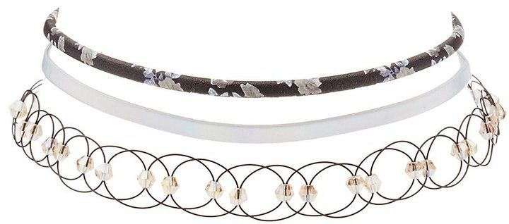 Charlotte Russe Plus Size Floral, Holographic & Tattoo Choker Necklaces - 3 Pack