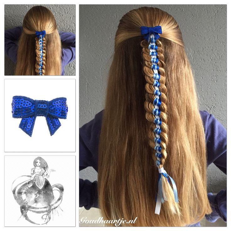 Halfup hairstyle with ribbons and a cute bow from Goudhaartje.nl I used 7 ribbons and two strands of hair.  Braid inspired by: Elvira Alexa (instagram)  #braid #braids #hair #hairstyle #hairinspiration #hairideas #longhair #beautifulhair #halfup #halfupdo #hairstylesforgirls #bow #hairclip #hairaccessories #ribbon #haar #haarstijl #vlecht #vlechten #strik #haaraccessoires #goudhaartje