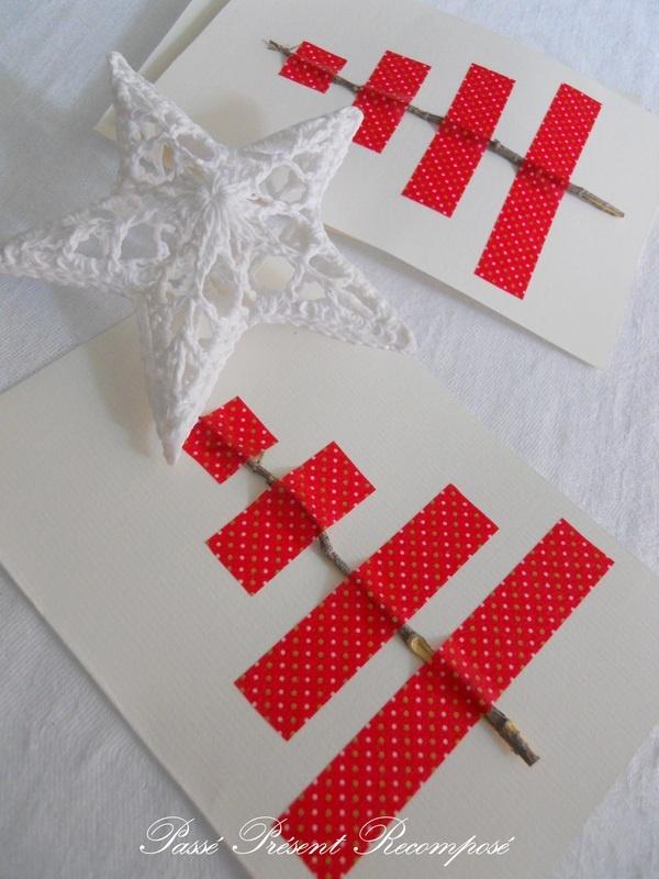 Inspiration: twig + washi tape = Christmas tree. From Passé Présent Recomposé.