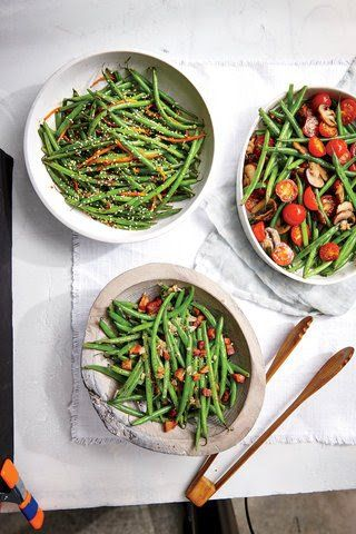 Slender haricots verts need little embellishment. Here they're tossed with a good dose of cherry tomatoes and mushrooms. Once it's cooked, the flavor mellows considerably. If you can't find the tiny French green beans, substitute regular green beans and increase the cook time in boiling water to five minutes to ensure they're done.