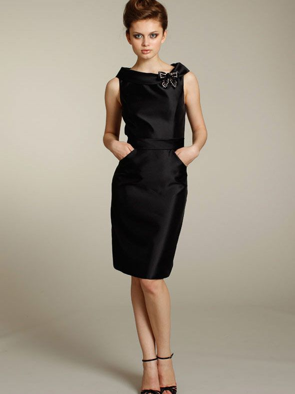 black fashion knee length sleeveless sheath fall bridesmaid dress with pencil skirt
