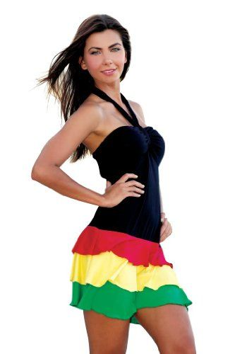 Ingear Women Ruffle Bandeau Dress Rasta Small