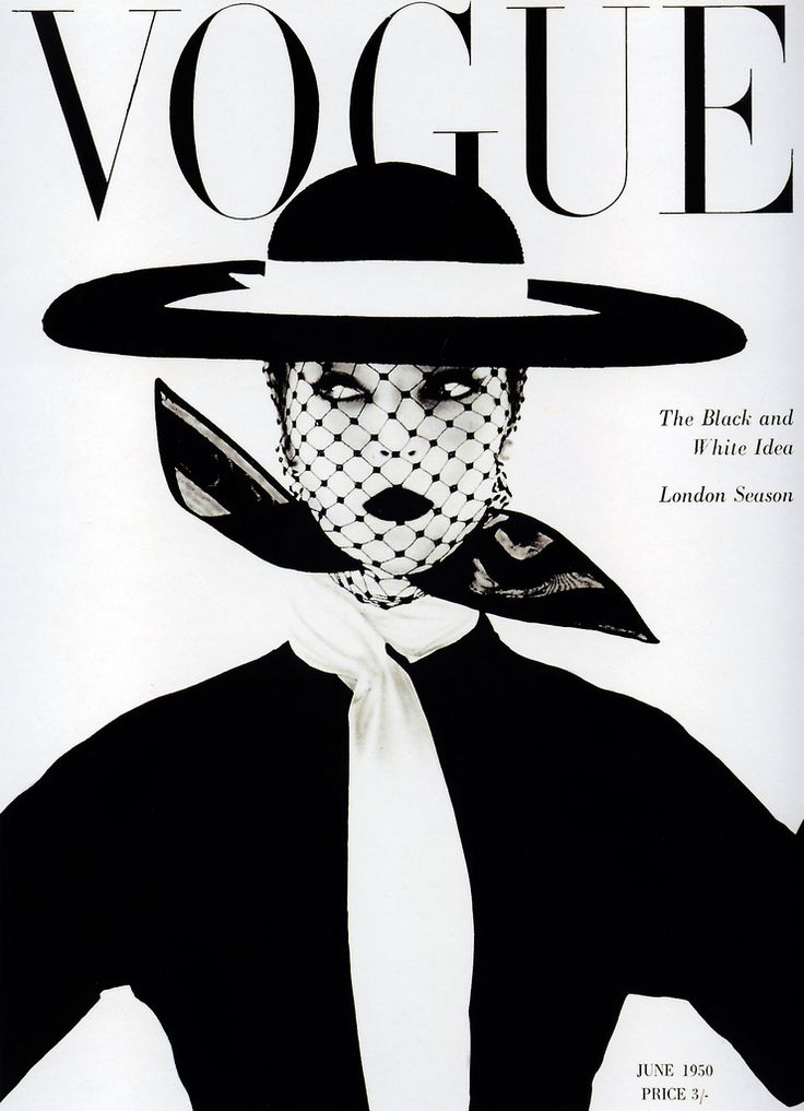 "Jean Patchett by Irving Penn, Vogue UK cover, June 1950. ""Black and white - more brilliant than colour; symbolic of a black andwhite season. Wide, round, level hat by Lilly Dache. Silk organdiecoat-dress: Larry Aldrich. Scarf by Kimball"" (Vogue)   