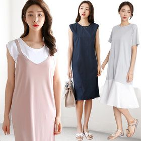 Gmarket - tntree Oversized midi dress / long sleeve / striped ...