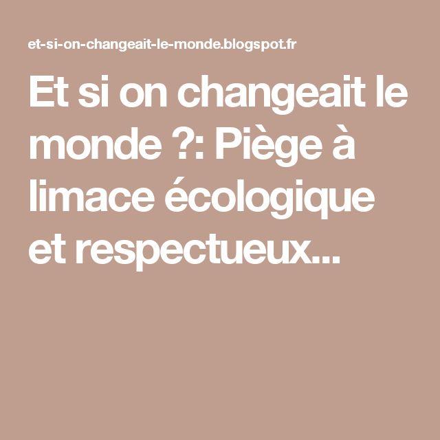 Et si on changeait le monde ?: Piège à limace écologique et respectueux...