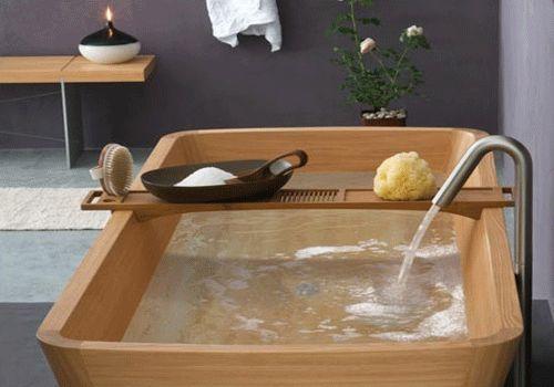 Wood hot tub, eco friendly bathroom ideas, modern wooden soaking tubs