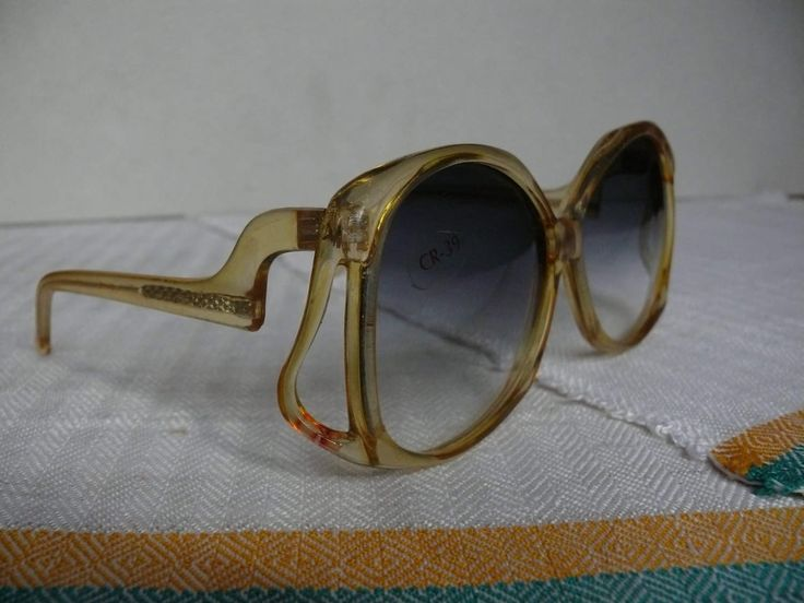 Oversized womens sunglasses Vintage mod sun eye glasses Transparent yellow plastic frame Light gray lens tint Sun goggles Vintage eyewear by GoodOldTimesBoutique on Etsy