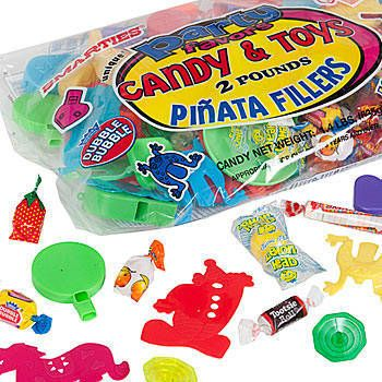 Use our Pinata Filler Bag to stuff your pinata. Our 2 pound pinata filler bag is filled with 1.4 pounds of party candy along with toys and trinkets.