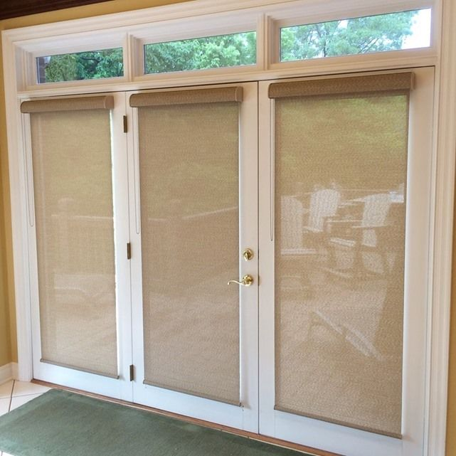 Patio door shades: Designer Screen Shades by Hunter Douglas.