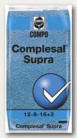 ΚΟΚΚΩΔΗ ΛΙΠΑΣΜΑΤΑ Σύνθεση: 12-8-16 + 3MgΟ+B+Fe+Zn  Ιδανικό για καλλιέργειες με αυξημένες απαιτήσεις σε όλα τα στοιχεία. Το αυθεντικό γερμανικό λίπασμα Complesal Supra.     Συσκευασίες: σάκοι των 25 και 40 κιλών.