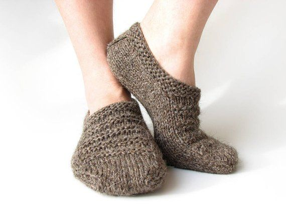 Gray undyed wool organic hand knitted Men winter warm home slippers socks Cozy clothing Anniversary birthday gift for boyfriend husband dad