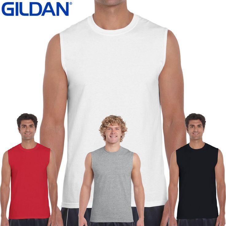 GILDAN Mens Performance Tank Top sleeveless T Shirts Plain Muscle Gym Tee Cotton #Gildan #Sleevelessmuscletee100CottonTshirt200g
