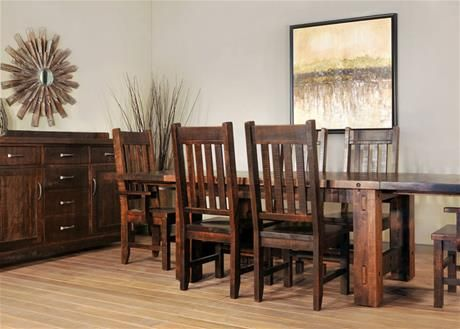 The Beautiful And Rustic Timber Dining Suite By Ruffsawn Canadian Made Of Solid Maple Comes In A Variety Sizes Stains Hardware