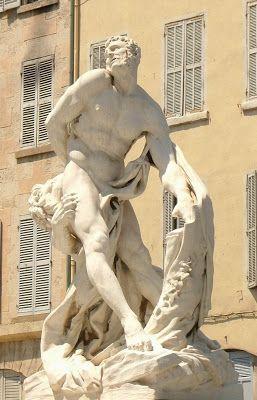 Ateliers de Jules Cantini, Milon de Crotone d'après Pierre Puget, groupe marbre, 1916. Marseille 1er