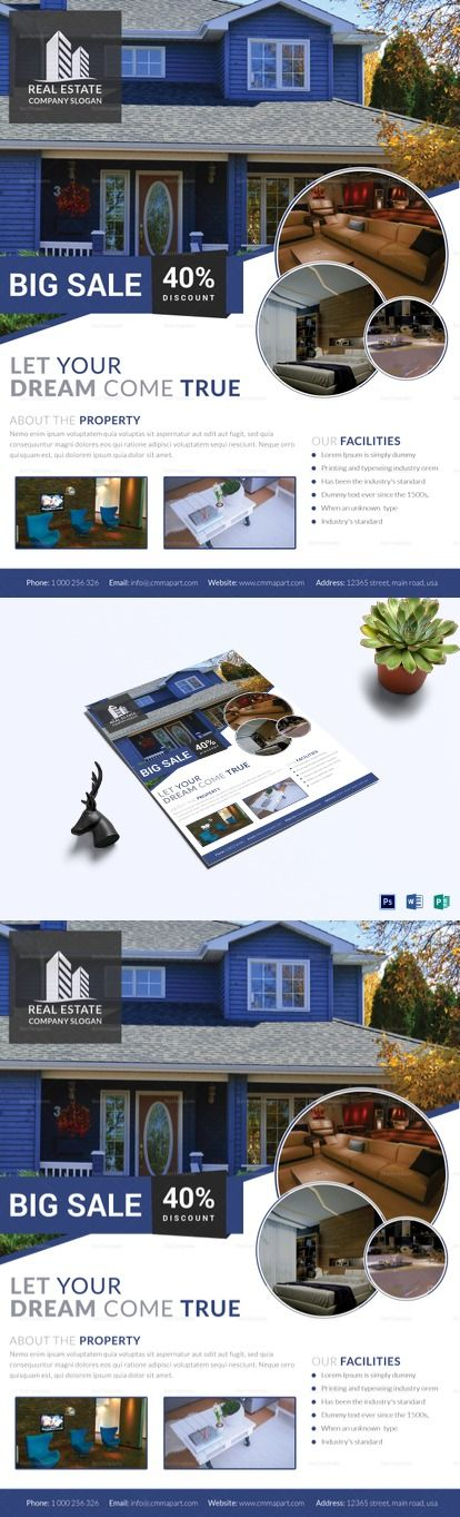 Stylish Real Estate Flyer Template -  Formats Included : MS Word, Photoshop, Publisher -  File Size : 8.5x11 Inchs