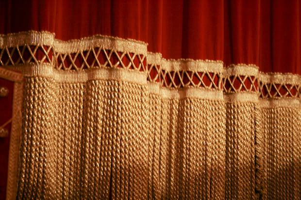 red and gold vintage stage curtain window treatments