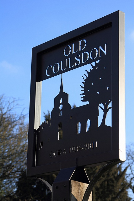 A classy village sign, Old Coulsdon in Surrey England