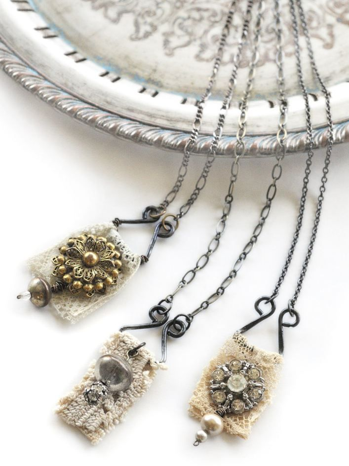 """""""The contrast between the soft, feminine texture of the lace next to the shiny, hard metal of the hooks and eyes immediately felt right."""" –Becky Shander. Read this free how-to article to find out how the city of Geneva inspired Becky to create this beautiful necklace out of vintage findings."""