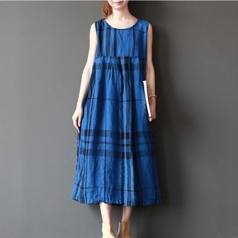 Women summer sleeveless retro style loose cotton dress