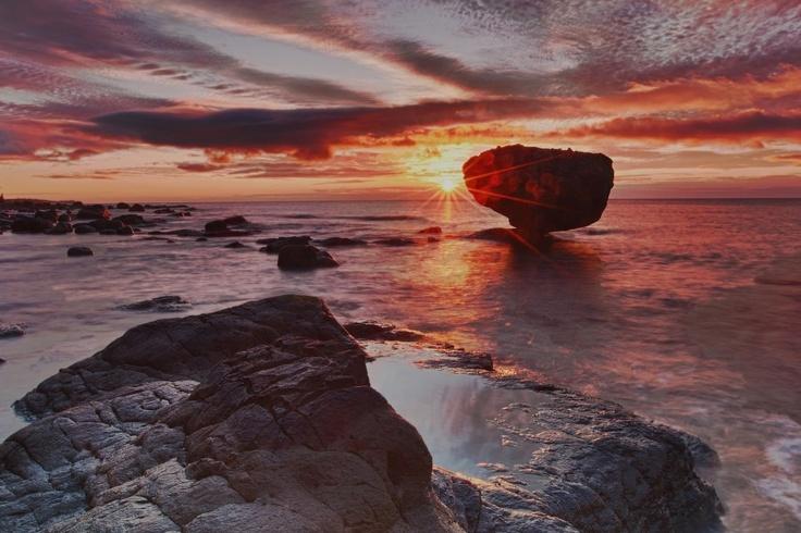 Balance Rock, Haida Gwaii. at sunset