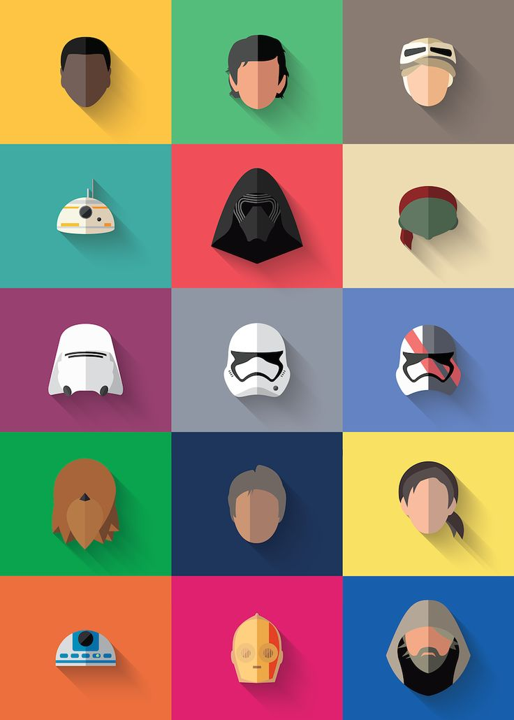 Star Wars The Flat Awakens Icons  After a first part of Star Wars icons Portuguese designer Filipe de Carvalho comes back paying tribute with the release of the upcoming film of the saga : Star Wars: The Force Awakens. There are a lot of rumours as to what will the characters be who will come back from the previous movies and so on. These are some of the characters that seem to be featured in Star Wars upcoming saga shaped like faceless icons.                    #xemtvhay