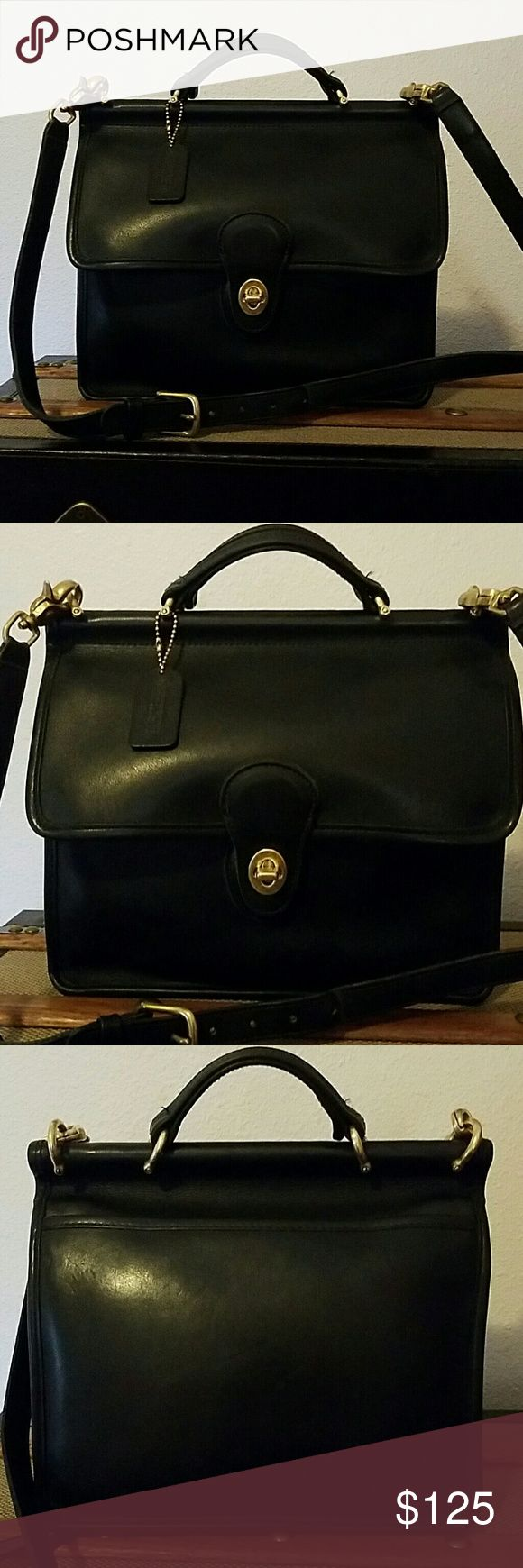 Coach Willis messenger satchel. Glove leather. Coach Willis messenger satchel/crossbody bag.  With hang tag and original straps.   Glove leather, made in the USA.  Excellent condition.  No rips tears or scuffs in the leather.  Brass hardware  is shiny with minimal wear.  Turn lock closure.  Back slip pocket interior zip pocket and front compartment.  Great timeless style.  Ask any questions.   Open to offers Coach Bags Crossbody Bags