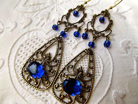 Blue Chandelier Earrings Art Nouveau Earrings Cobalt Blue Earrings Blue Crystal Earrings Brass Earrings 1920s Earrings- Blue Hollywood