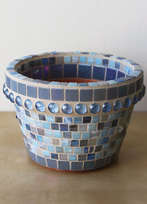 Mint Mosaic herb container by HalleyDawn on Etsy