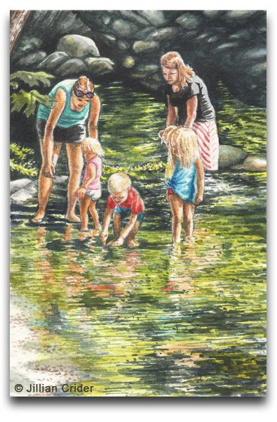 """""""The Paddlers"""" original watercolor SFA (Small Format Art) 4x6"""" (postcard size). A group of children with their mothers padding in a beautiful park stream. The joys of childhood! Available on Etsy. By artist Jillian Crider (artistjillian) https://www.etsy.com/listing/165581566/original-watercolor-painting-women? Lithia Park, Ashland, Oregon."""