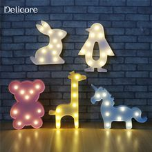 DELICORE 3D Животных Ночные Огни Единорог Медведь Marquee ПРИВЕЛО Батареи Ночник Стол Ночника Для Baby Дети Спальня Украшение(China (Mainland))