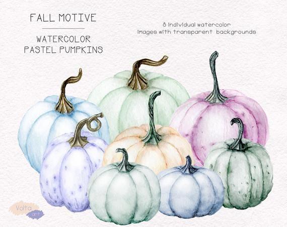 Watercolor Fall Clipart Pastel Pumpkins Hand Drawn Png Clip Etsy Floral Wreath Watercolor Clip Art Pumpkin Images