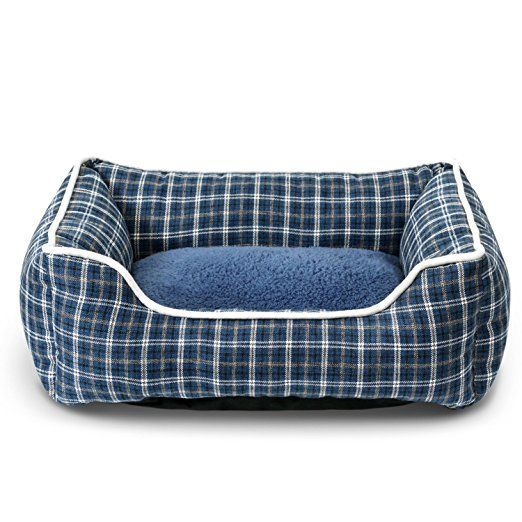 Fluffy Paws Pet Bed Crate Pad Premium Bedding w/ Inner Cushion for Dog / Cat [Classic Series], Deep Blue Plaid Bed
