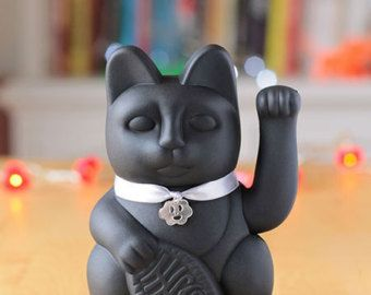 "Lucky Cat ""Gatete"" (classic black, white and silver) is the stylish version of the classic lucky cat 10.5x9.5x17.5 cm"