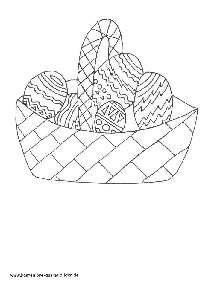 frisch osterhase mit korb malvorlage  osterhase