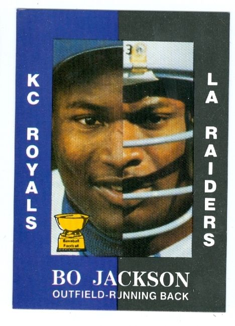 la+raiders   bo jackson baseball card 1990 aamer sports (los angeles raiders ...