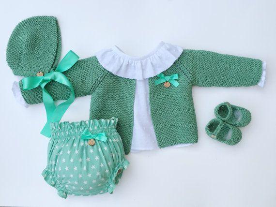 Baby Clothing Set: Cardigan Shirt Bloomers by MarigurumiShop