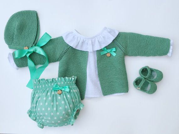 Baby Clothing Set: Cardigan Shirt Bloomers by MarigurumiShop