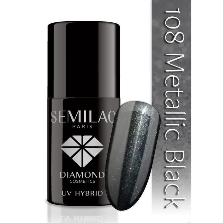 Ημιμόνιμο μανό Semilac - 108 Metallic Black 7ml - Semilac | Προϊόντα Μανικιούρ - Πεντικιούρ Semilac & Ημιμόνιμα.