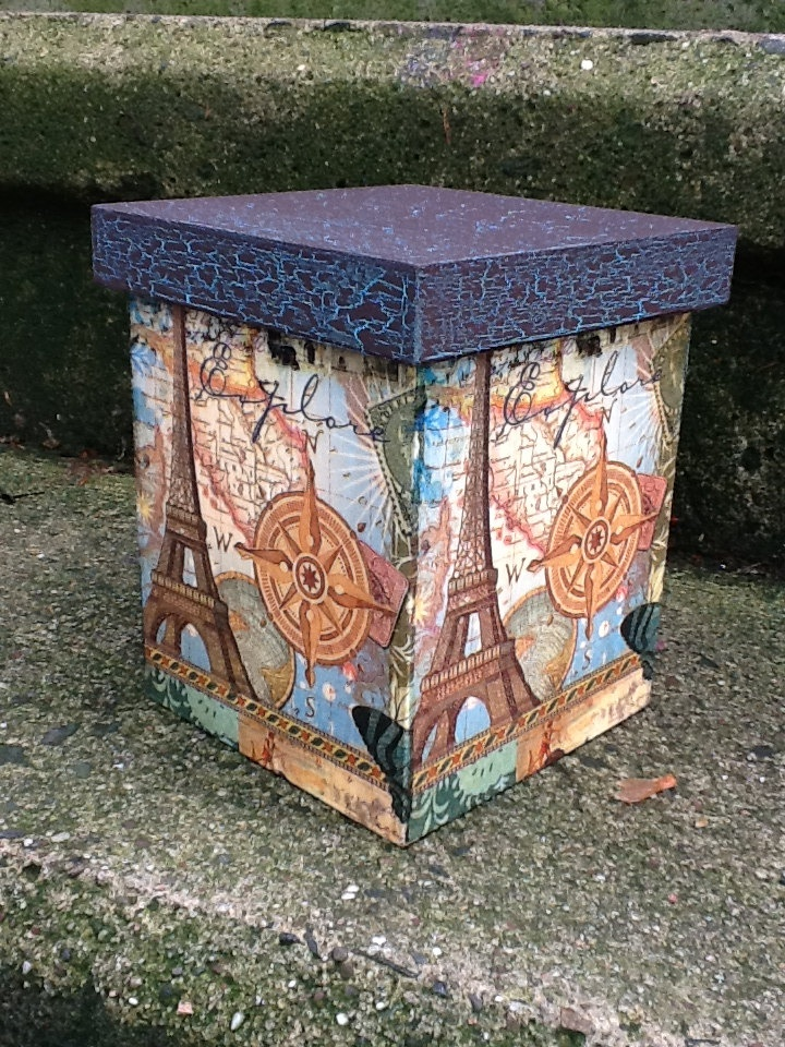 Wood Container: Decoupage old world nautical map, & Eiffel tower image