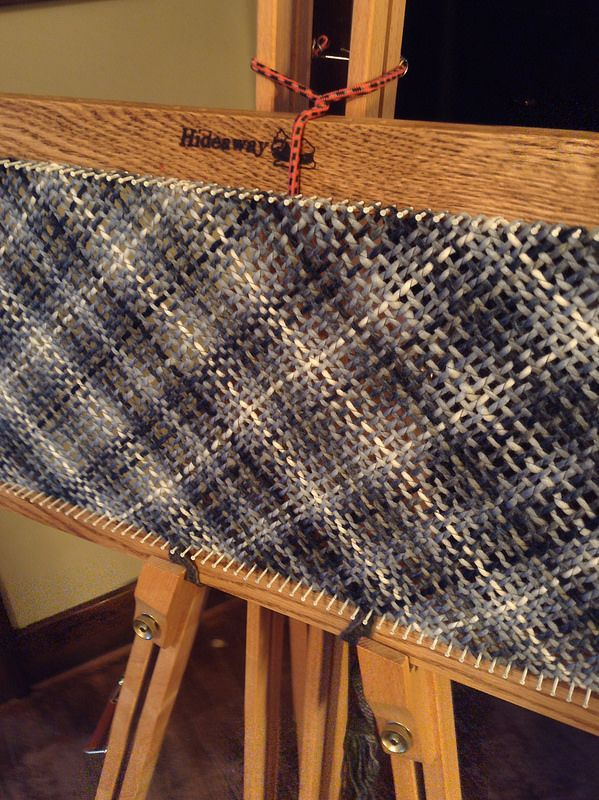 Blueberry Hill Scarf on my modular Hideaway Homestead rectangle loom.