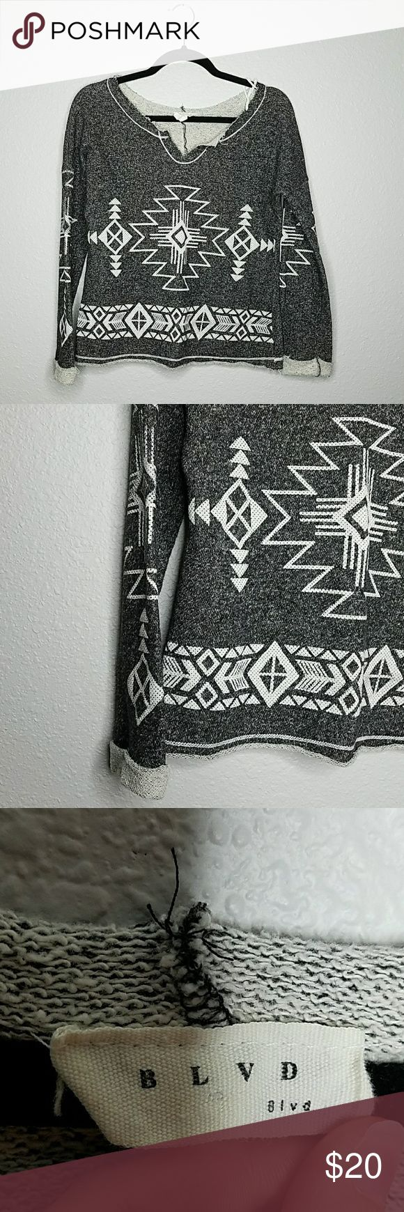 BLVD Tribal Print Sweater Excellent condition, super cozy & soft. No size tag, refer for the measurements. Dark grey & white print.   Pit to Pit: 20 inches Length:21 inches BLVD Sweaters