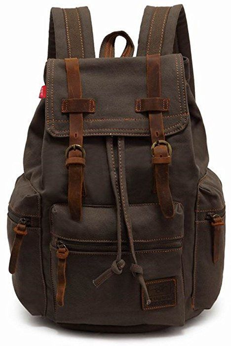 f3964a2fa Amazon.com: AUGUR Vintage Canvas Leather Backpack Large Laptop Rucksack  Bookbag Satchel Hiking Bag: Clothing | Vestidos | Mochilas, Verde del  ejército y ...