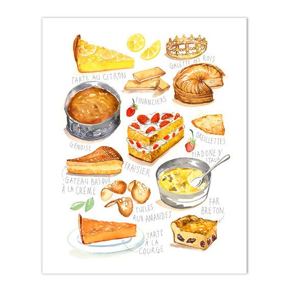 French bakery #3; Watercolor print