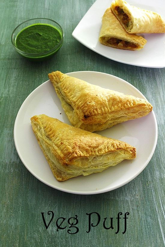 Veg Puff Recipe - This is Indian bakery style vegetable puff recipe with step by step photos. Here I have used store bought puff pastry sheets which gives the best texture.