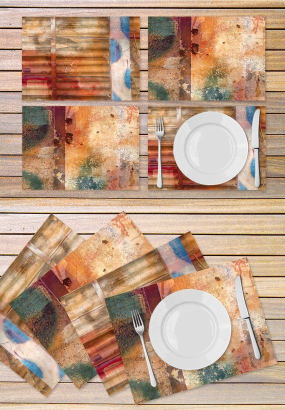 4 Autumn Color Table Mats Set Of 4 Abstract Art Place Mats Etsy Colorful Table Colorful Table Linens Placemats
