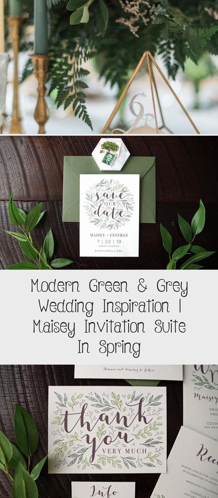 Botanical illustration Green & Grey Wedding inspiration perfect for a modern garden wedding or an urban wedding dripping with greenery. Palette of greens - emerald and sage. Earthy and organic with clean, modern touches. Bridesmaid dresses #LavenderBridesmaidDresses #DifferentBridesmaidDresses #MixAndMatchBridesmaidDresses #AfricanBridesmaidDresses #GreyBridesmaidDresses