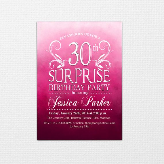 Pink Ombre Adult Birthday Invitation / DIY By