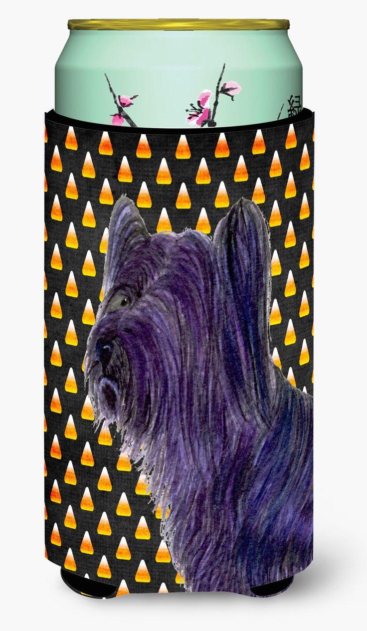 Skye Terrier Candy Corn Halloween Portrait Tall Boy Beverage Insulator Beverage Insulator Hugger